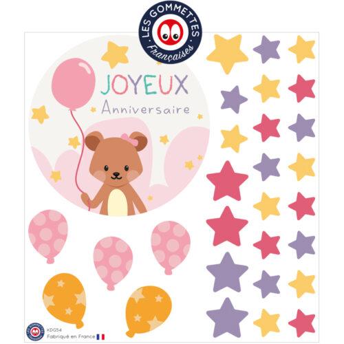 Kit carte anniversaire ourson | Les gommettes françaises | Fabriqués en France