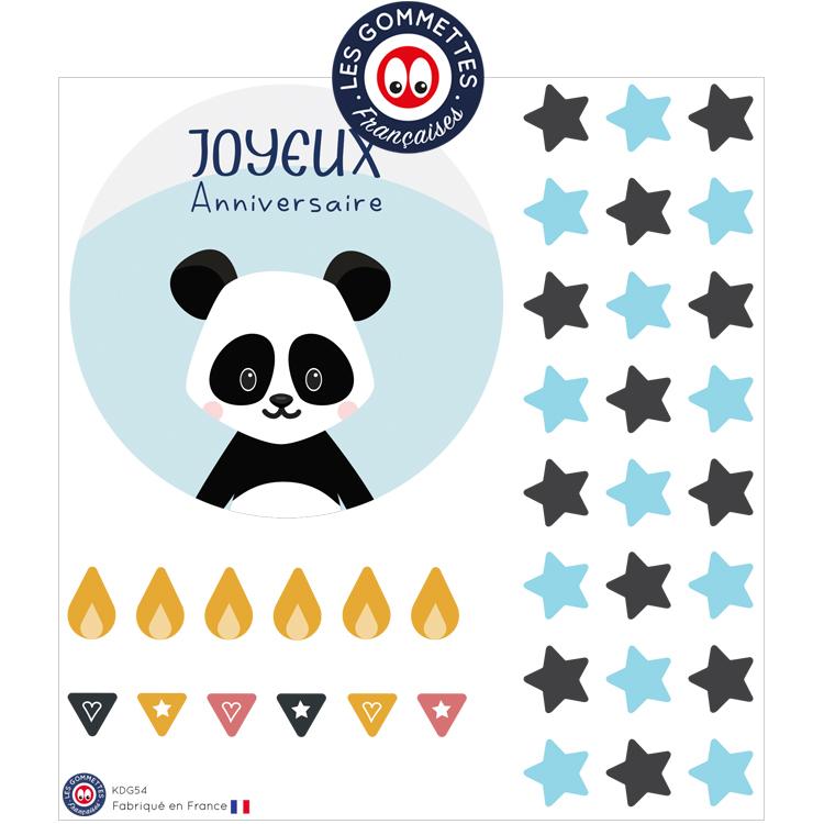 Kit carte anniversaire Panda | Les gommettes françaises | Fabriqués en France