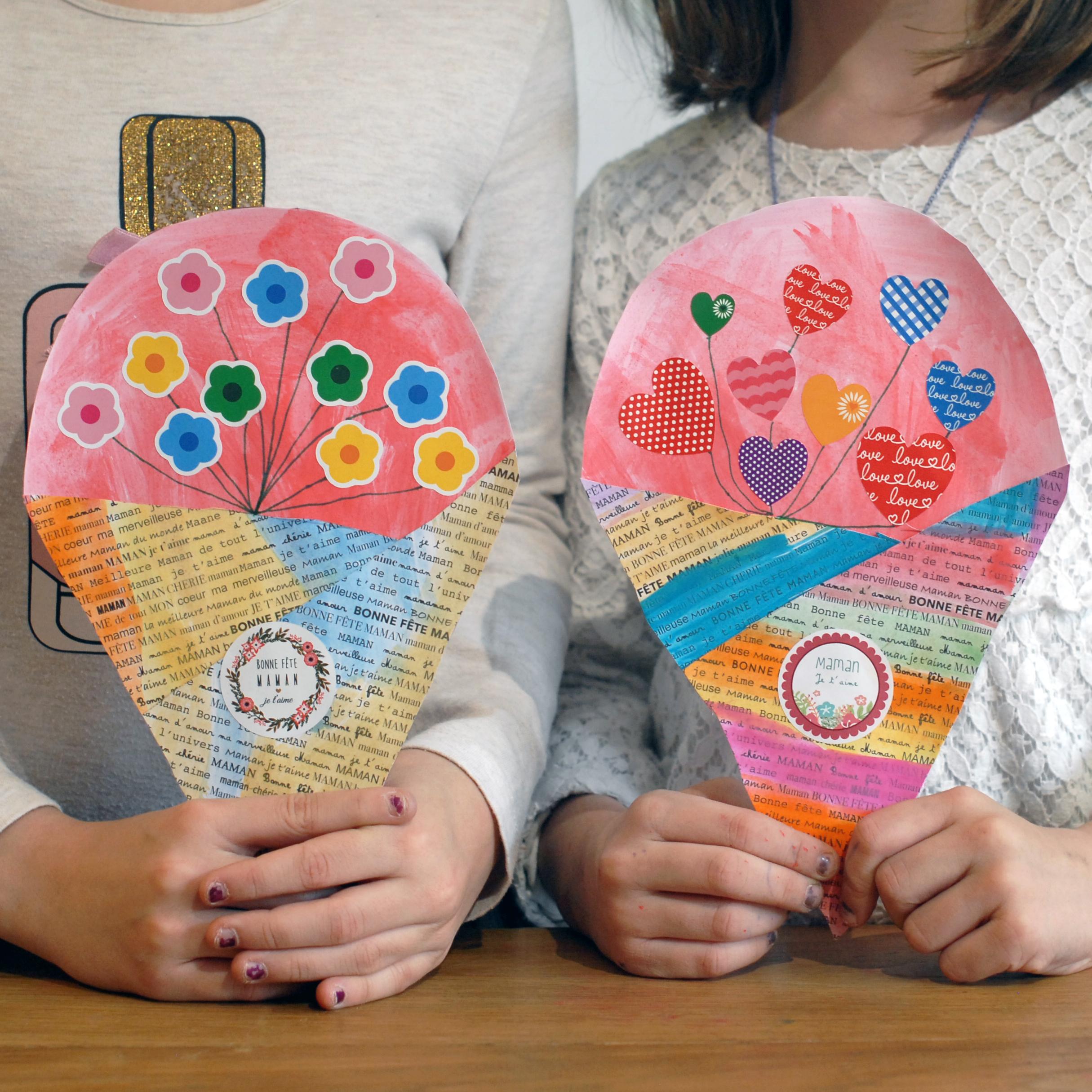 Bouquet d'amour pour la fête des mères | Les gommettes françaises