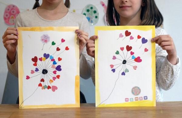 Pissenlit coeur fête des mères | Activités manuelles | Les Gommettes Françaises